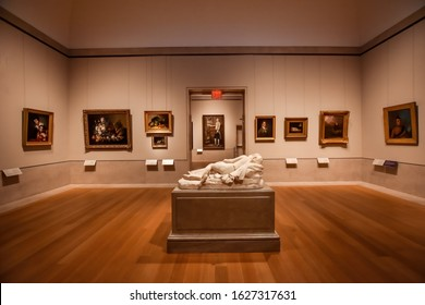 """Manhattan, New York, USA - December 9, 2019. Room of the Metropolitan Museum of Art of New York City - """"the Met"""", the largest art museum of United States, at 1000 Fifth Avenue, Manhattan."""