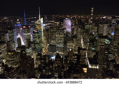 MANHATTAN, NEW YORK, THE USA - JANUARY 6, 2017: The night view on Manhattan from the observation deck of the Empire State Building.