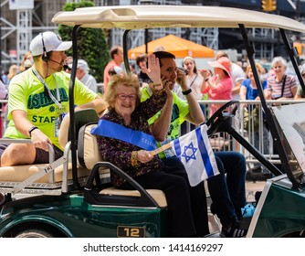 "Manhattan, New York, USA - June 2, 2019: 55th Annual ""Celebrate Israel"" Parade - Dr.Ruth supports Israel"