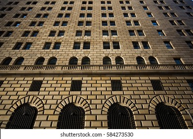 Manhattan, New York, USA - June, 13, 2015: The Federal Reserve Bank of New York Building.