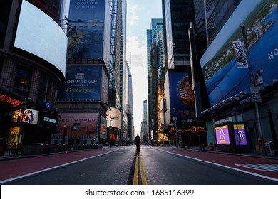Manhattan. New York / USA - March 26 2020: Empty streets of New York at Times Square 42nd street during pandemic virus Covid-19