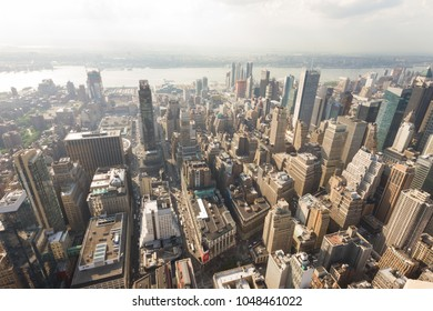 Manhattan, New York, USA -  May 27, 2015: Panoramic view of Manhattan as seen from the Empire State Building observation deck