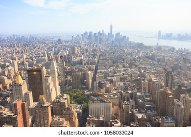 Manhattan, New York, USA -  May 27, 2015: Panoramic view of Lower Manhattan as seen from the Empire State Building observation deck