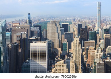 Manhattan, New York, USA -  May 27, 2015: Panoramic view of Midtown Manhattan as seen from the Empire State Building observation deck, in the background Central Park
