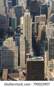 Manhattan, New York, USA -  May 27, 2015: Panoramic view of Midtown Manhattan as seen from the Empire State Building observation deck, in the foreground the Rockefeller Center