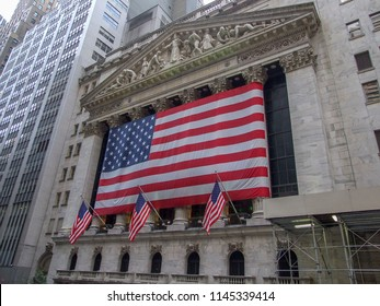 Manhattan, New York, USA -September 2007: New York Stock Exchange on Wall Street, Manhattan NYC, giant Stars & Stripes flag across the front exterior columns