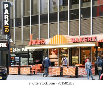 MANHATTAN, NEW YORK-DECEMBER 23, 2015:  Junior's Cheesecake is a New York tradition with locations in Times Square and the original in Brooklyn, New York.
