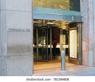 MANHATTAN, NEW YORK-DECEMBER 23, 2017:  Flagship of the Tiffany & Company jewelery store on 5th Avenue in New York City.