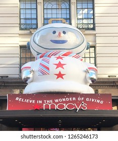 MANHATTAN, NEW YORK-DECEMBER 7, 2018:  Entrance to Macy's, the world's largest department store; where Santa arrives every Thanksgiving to kick off the holiday shopping season.