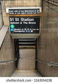 MANHATTAN, NEW YORK-DECEMBER 9, 2018: Subway station entrance in midtown Manhattan, New York City