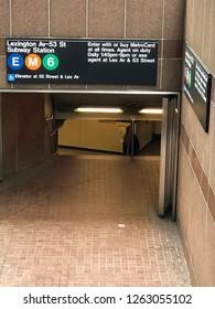 MANHATTAN, NEW YORK-DECEMBER 9, 2018: Subway station entrance on Lexington Avenue in midtown Manhattan, New York City