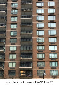 MANHATTAN, NEW YORK-DECEMBER 9, 2018:  Upscale apartment or condominium building in mid-town on 2nd Avenue.