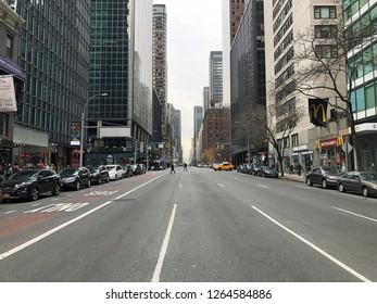 MANHATTAN, NEW YORK-DECEMBER 9, 2018:  Street view of Lexington Avenue at 51st Street in midtown.