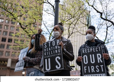 MANHATTAN, NEW YORK/UNITED STATES - MAY 11 2020: [Protest against police brutality, violence and racism].