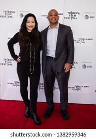 "Manhattan, New York/USA - April 27, 2019: Red Carpet before premiere of documentary  ""Kid from Coney Island"": Producer Nina Bongiovi and Professor of Documentary Movie study NYU Jason Samuels"