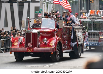 Manhattan, New York,USA - November 11. 2019: Old Fire Truck during the Veterans Day Parade on Fifth Avenue in NYC
