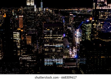 Manhattan at night, New York City. View from Brooklyn