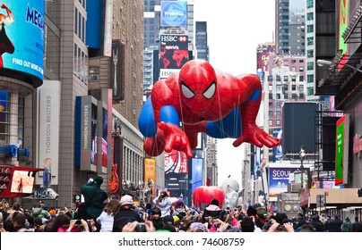 MANHATTAN - NOVEMBER 25 : Spider Man character balloon passes Times Square at the Macy's Thanksgiving Day Parade November 25, 2010 in Manhattan.