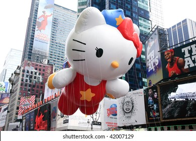 MANHATTAN - NOVEMBER 26: A Hello Kitty balloon passing Times Square at the Macy's Thanksgiving Day Parade NOVEMBER 26, 2009 in Manhattan.