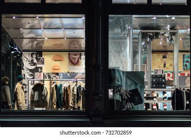 MANHATTAN, NY (10/10/2017) - Window display of a clothing store on Prince Street of SoHo