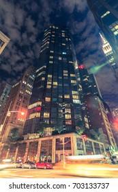 MANHATTAN, NY (August 25, 2017) - One Sixty Madison luxury condominium in midtown Manhattan at night.