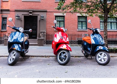 MANHATTAN, NY (August 6, 2017) - Motor scooters parked in midtown of Gramercy Park.