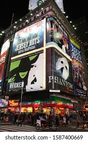 Manhattan, NY - November 7th 2010: Theater at Times Square at 7th Avenue showing advertisement billboards for Broadway shows in Manhattan, New York City.