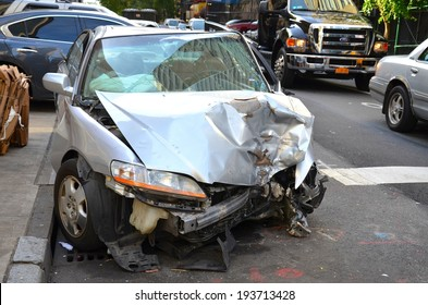 MANHATTAN, NY- SEPTEMBER 21: Car Crashed in a Accident in Manhattan New York, USA on September 21, 2013. One of the 5 boroughs of New York City, the smallest but also the most populated.