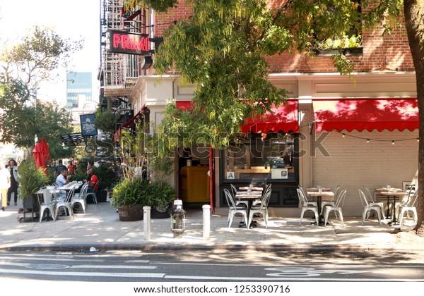 Manhattan N.Y. / U.S. - Sep 1 2017 : a Italian restaurant with beautiful patios in summer