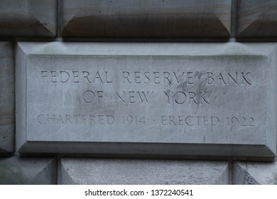 Manhattan NY USA 03 15 19 Federal Reserve Bank of New York Plaque