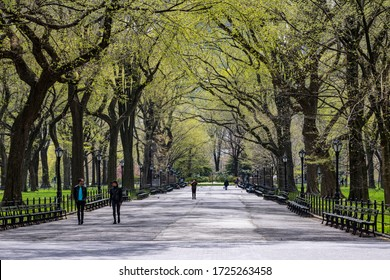 Manhattan, NY, USA- 4/17/20: people during the time of coronavirus in Central park