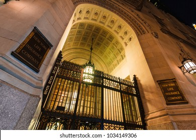 MANHATTAN, NY / USA - August 8, 2017: Entrance of New York Life Insurance Company Building in midtown.