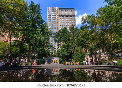 MANHATTAN, NY / USA - August 9, 2017:  View of a condo building from Madison Square Park.