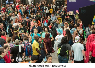 MANHATTAN, NY / USA - October 8, 2017: Crowd at Comic-Con in Jacob Javits Center.