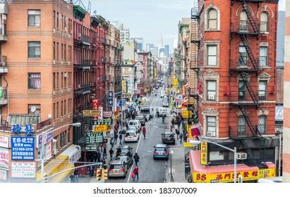 Manhattan, NYC 16 dec 2011 -  view of china town by dumbo bridge