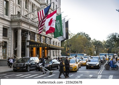 Manhattan, NYC - November 3: View of the famous Plaza Hotel in Manhattan, NYC on November 3, 2014.