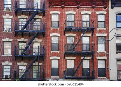 Manhattan, old building with fire escapes, United states of America