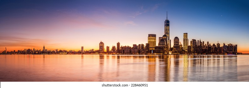 Manhattan panorama at sunrise, as viewed from Jersey City across the Hudson river