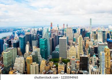 Manhattan panoramic skyline. New York City, USA. Office buildings and skyscrapers at Lower Manhattan (Downtown Manhattan).