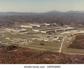 Manhattan Project facility at Oak Ridge, Tennessee, ca. 1950. Then called the 'Energy Research and Development Administration', but still using the World War 2 Gaseous Diffusion Plant and supporting f