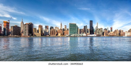 Manhattan skyline.