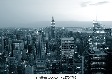 Manhattan skyline in blue tone