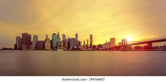 Manhattan Skyline with Brooklyn Bridge, New York City
