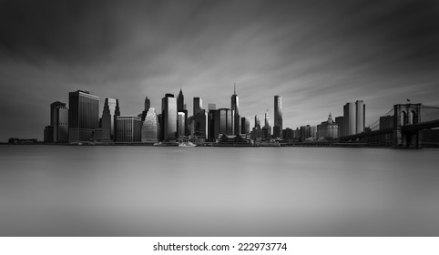Manhattan Skyline with Brooklyn Bridge , New York City