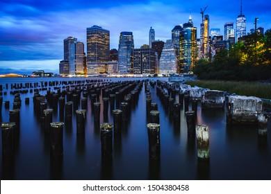 Manhattan Skyline from Brooklyn Bridge Park, NYC USA