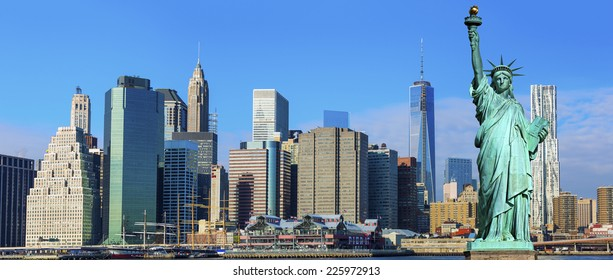 Manhattan Skyline with Brooklyn Bridge and the Statue of Liberty, New York City