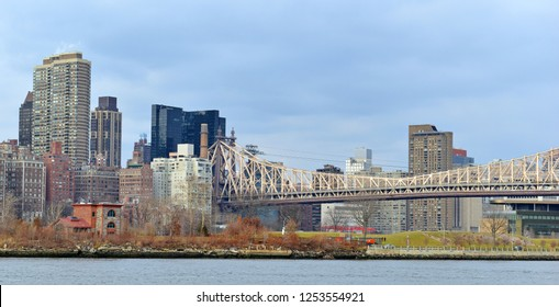 Manhattan skyline cityscape, on East side with commercial buildings and residential high rise apartment real estate