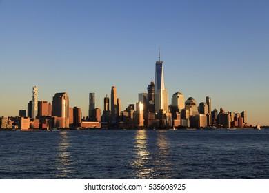 Manhattan Skyline in dusk from New Jersey