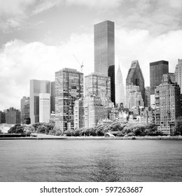 Manhattan skyline with East River. New York City. Black and white style.