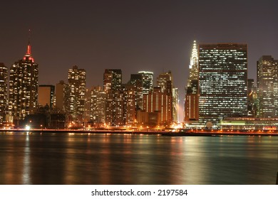 Manhattan skyline and the Empire State Building at Night